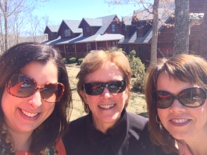 "Me, Beth and Mary at our most recent girls weekend at Beth's cabin, ""Lazy Bear"""